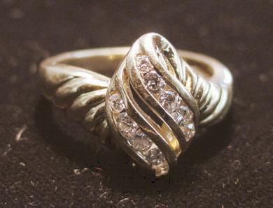 14K Diamond Waterfall Twist Ring