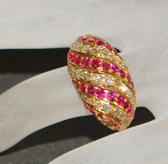 18K Ruby and Diamond Pave  Dome Ring -1960's