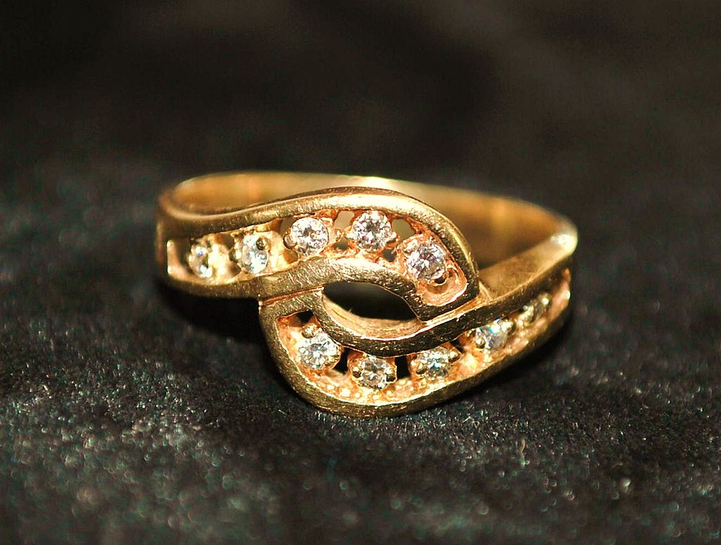 14K Modernist  Diamond By-pass  Ring - 1970's