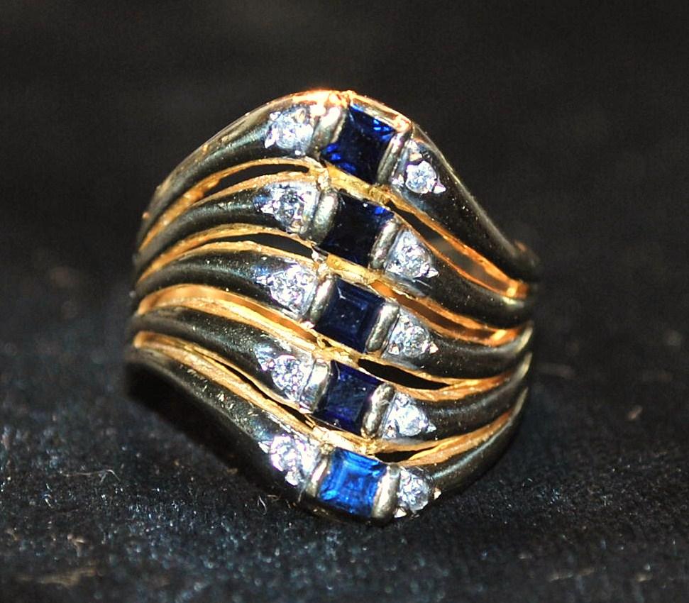 14K  Sapphire and Diamond Stacking Harem  Ring -1960's