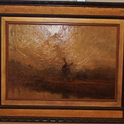 Large Dutch 18th Century Landscape Painting- Framed