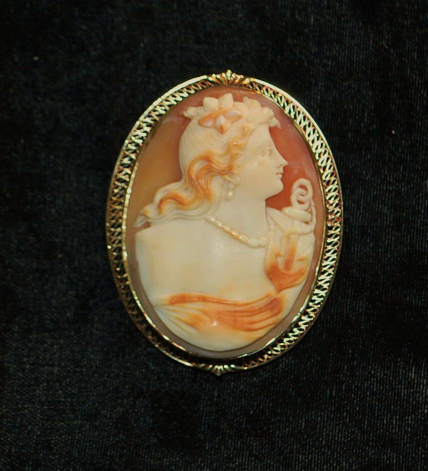 "14K Filigree  Large Cameo Brooch Depicting "" HOPE"" - 1910"