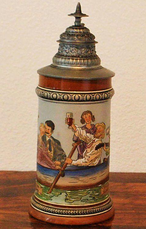 Fine Hauber & Reuther 1/2L Lidded Stein,c.1900