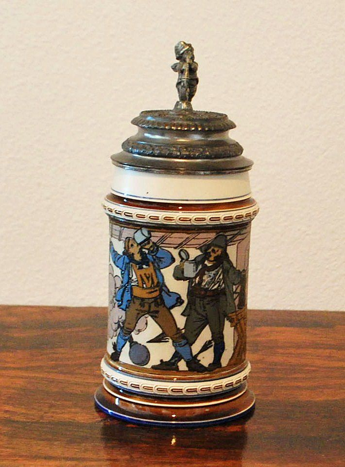 Mettlach 1/2L Etched Lidded Stein