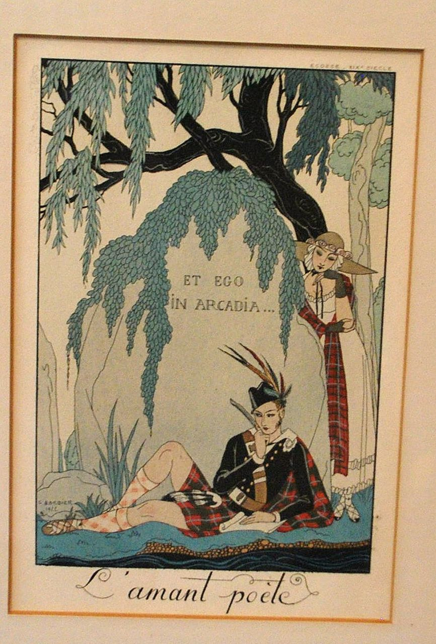 art deco l 39 amant poete illustration by george bardier antique world usa ruby lane. Black Bedroom Furniture Sets. Home Design Ideas