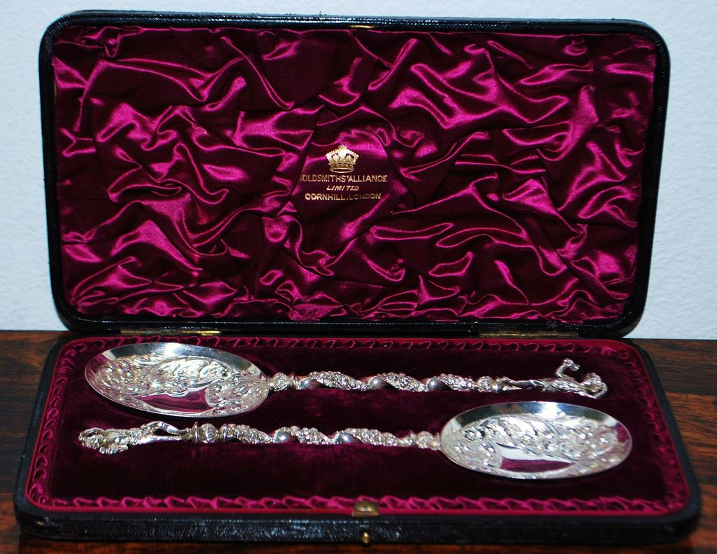 Fancy Pair of English Sterling Presentation Spoons,1891
