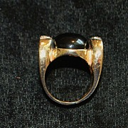14k Large Designer Onyx and Pave Diamond Ring - 1980's