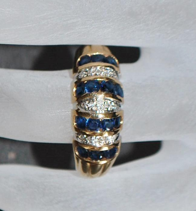 14K Sapphire and Diamond Pave Channel Dome Ring