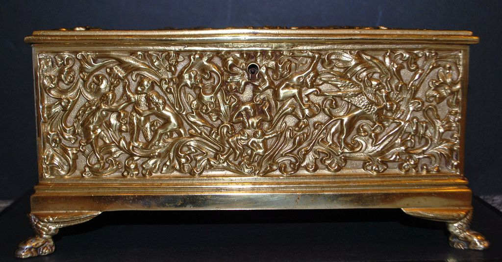 Large Art Nouveau French Bronze Repousse Box,c.1895