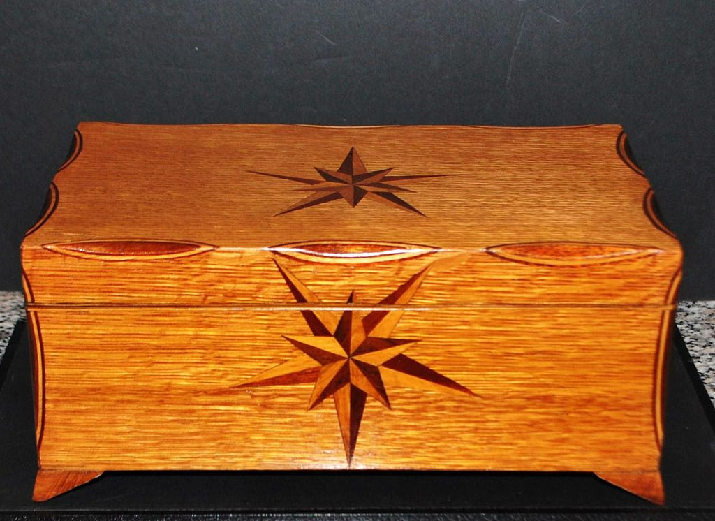 Fancy Inlaid Oak Jewelry Box c 1915 Antique World USA Ruby Lane