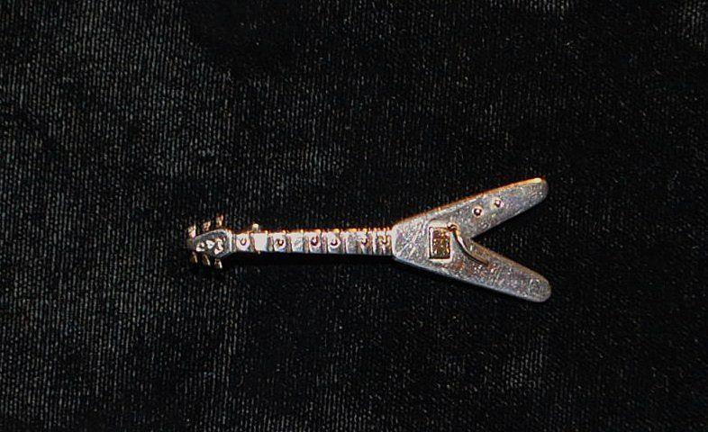 Custom 14K/Sterling V Shaped Guitar Pin - 1980's