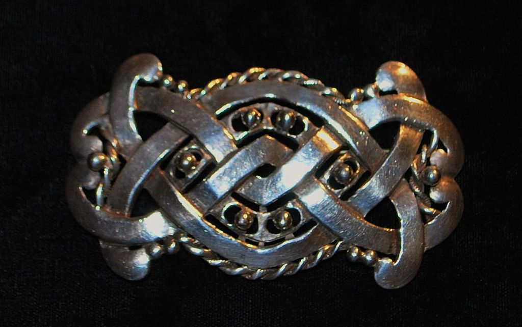 Large Mayan Art Crafts Silver Brooch, 1930's