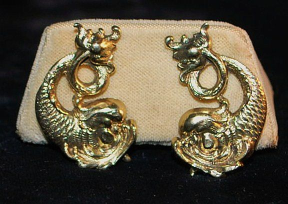 Pair of Stylized Dolphin Clip Earrings, 1934