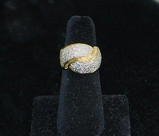 18K Micro Pave Diamond By-pass Ring