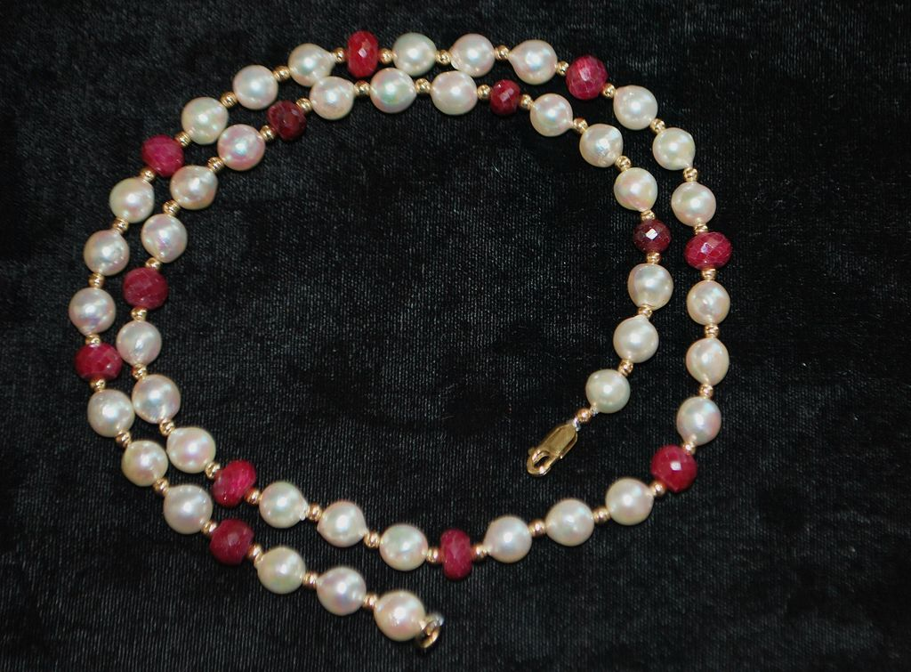 14K Ruby, Gold and Pearl Necklace