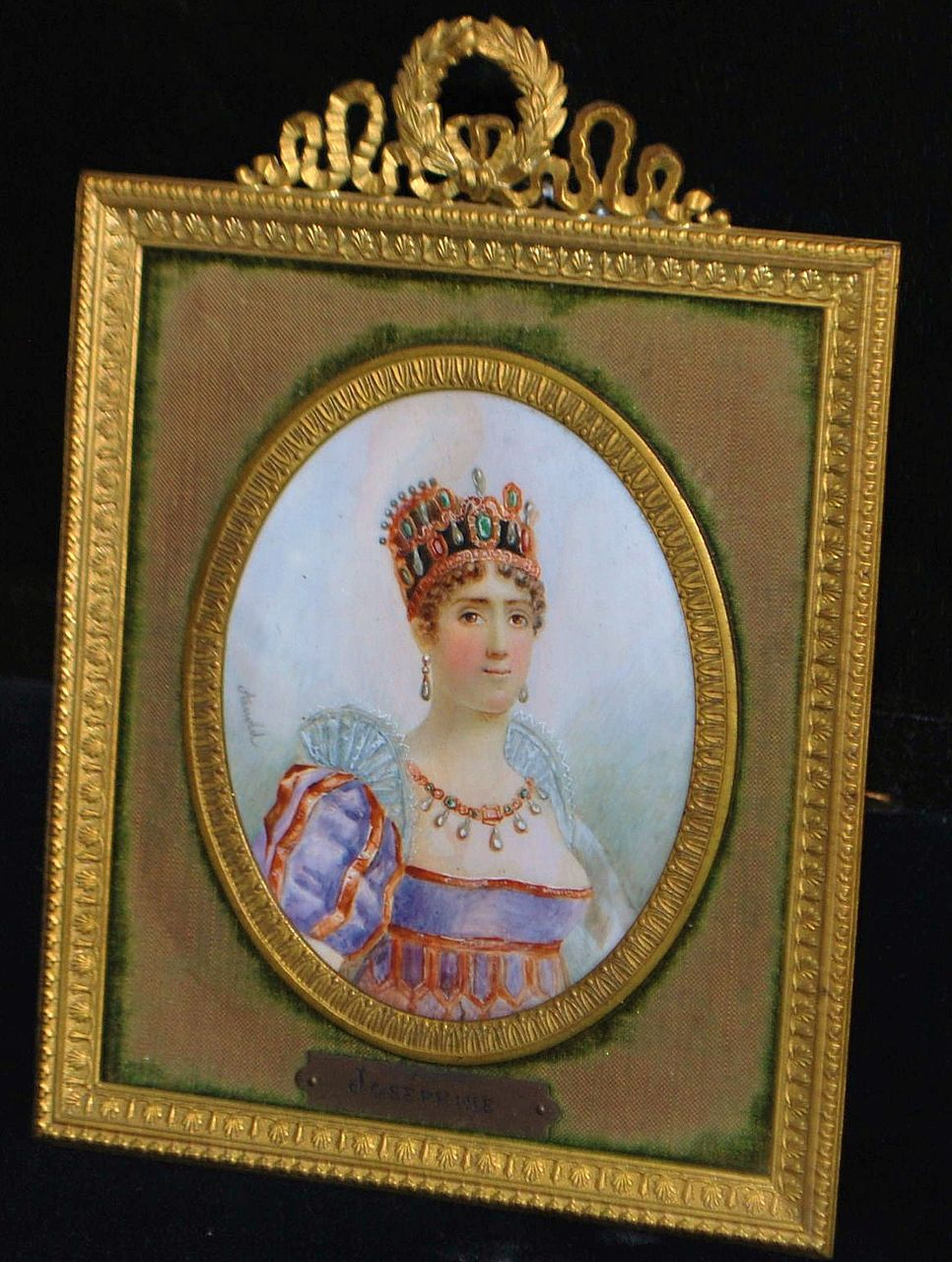 Early French Miniature Portrait  of Empress Josephine,Framed