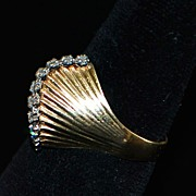 14K Retro  Diamond Fan Ring,1960's