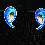 Pair of Blue Guilloche Enamel and Sterling Earrings