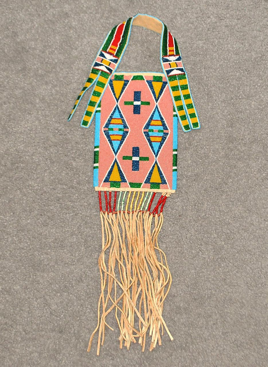 Crow Indian Double Sided Beaded Bag