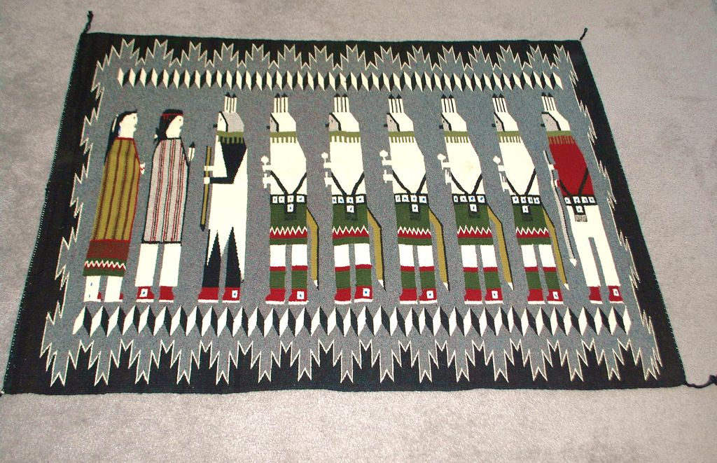 "Navajo Colorful  ""Yei"" Rug  - 1980's"