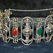 Italian  Peruzzi Sterling  Silver and  Gem Stone Bracelet -1920's