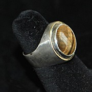 18K 950 Brazilian  Vancox Tiger Eye Ring - 1990
