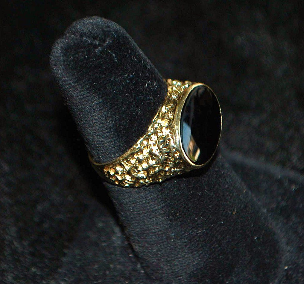 14K Man's Black Onyx Signet Ring - 1970's