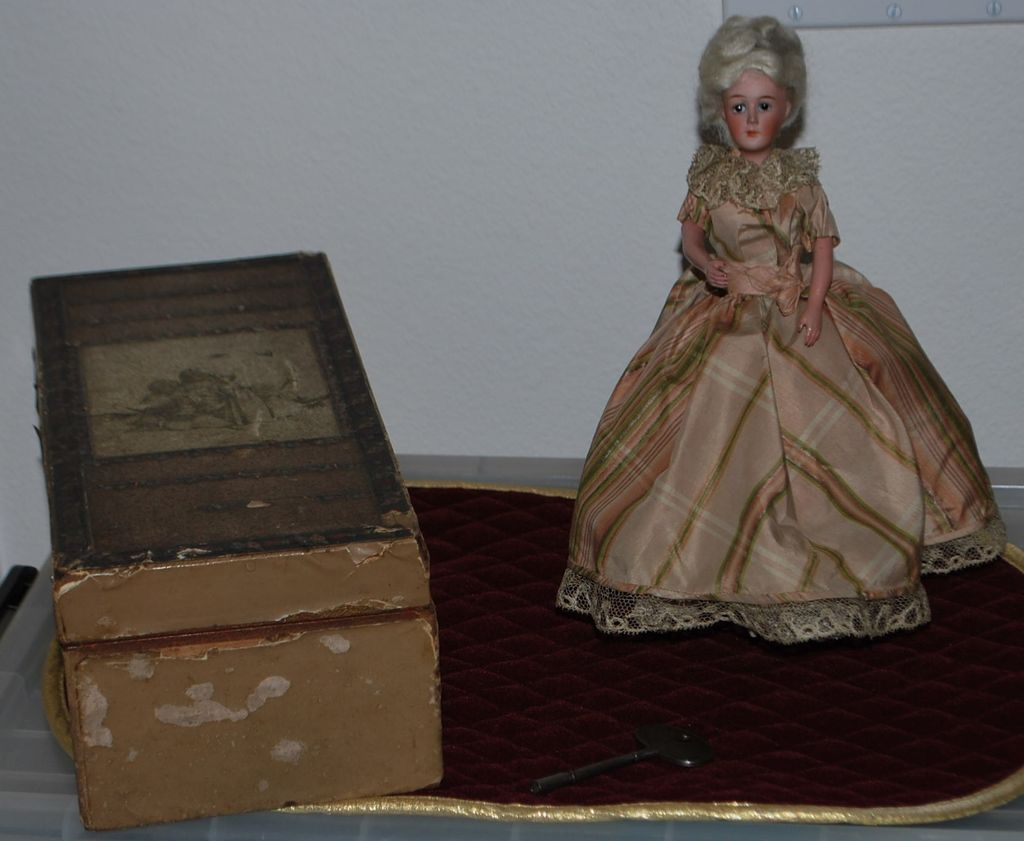 19th C Key Wind French Bisque Walking Doll & Box