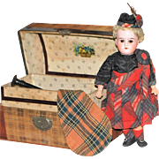 German Doll with the Original Trunk and Bag Pipes