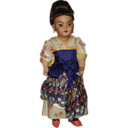 Simon Halbig #1099 Oriental Asian Bisque Doll, All Original
