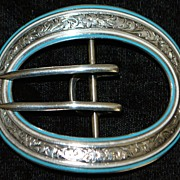 Art Nouveau Large Sterling and Blue Enamel Belt Buckle