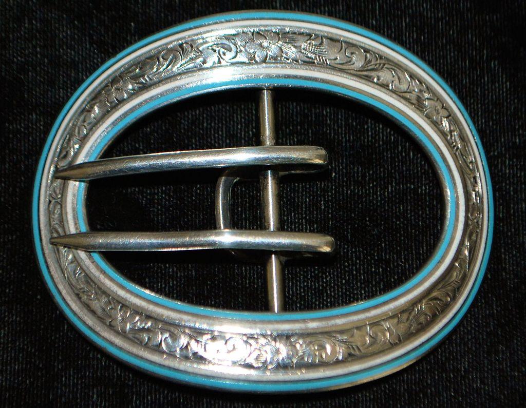 Art Nouveau Large Sterling and Blue Enamel Belt Buckle