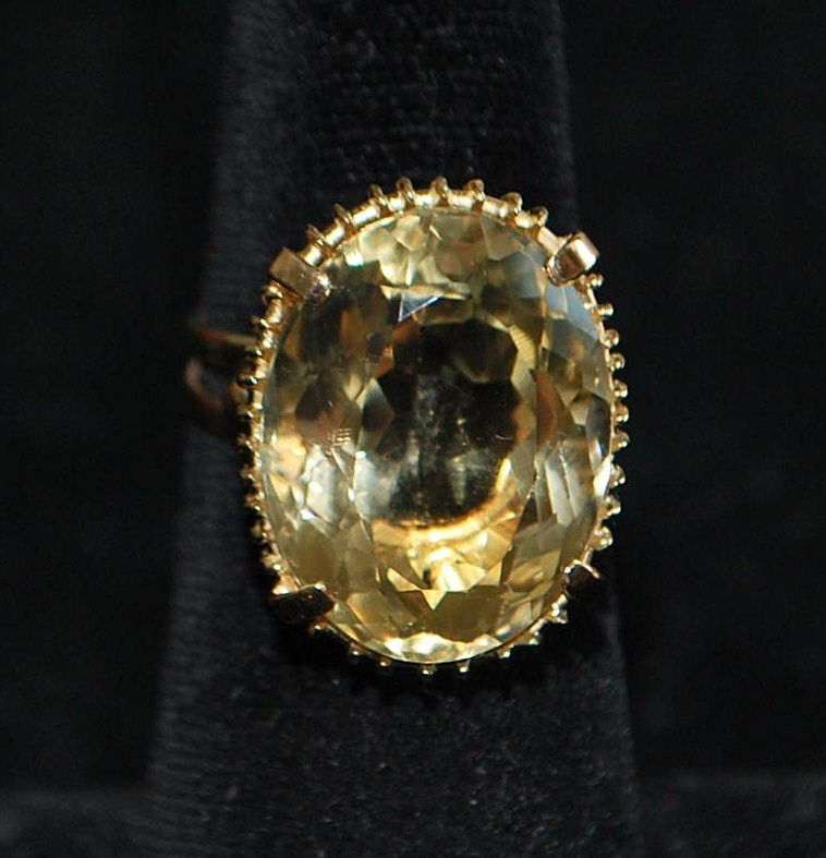 18K Italian 10ct Citrine Retro Cocktail Ring, 1960's