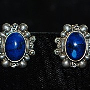 Pair of Peruzzi 800 Silver Azurite Clip-on Earrings - 1930's