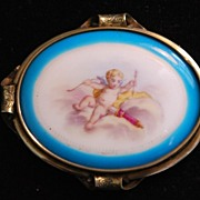 French Large 19thC Cupid HP Porcelain Brooch,c. 1885