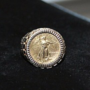 14K Man's US $5.00 Gold Coin Ring