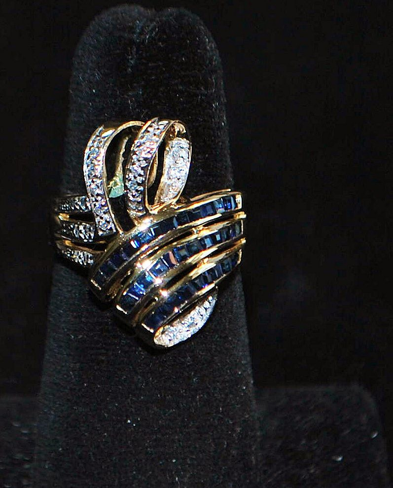 14K Sapphire and Diamond Large Bow Ring -1970's