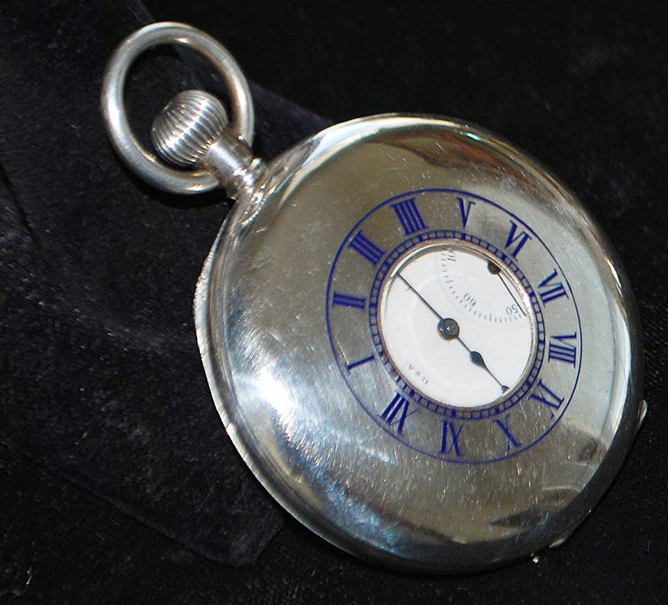 American  Waltham Sterling Silver Demi-Lune  Pocket Watch,1912