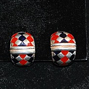 Pair of Italian Flli Menegatti Sterling and Enamel Earrings