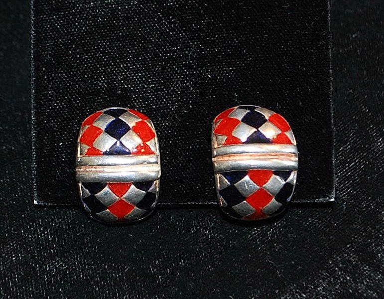 Pair of Italian Flli Menegatti Sterling and Enamel Earrings