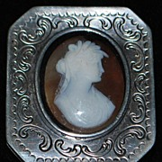 German 800 Silver Engraved Cameo Box,c. 1895