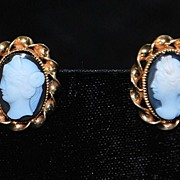 Pair of Gold Cameo Earrings -  1910