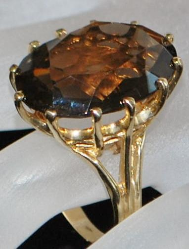14K Large Smoky Quartz Cocktail  Ring -1960's