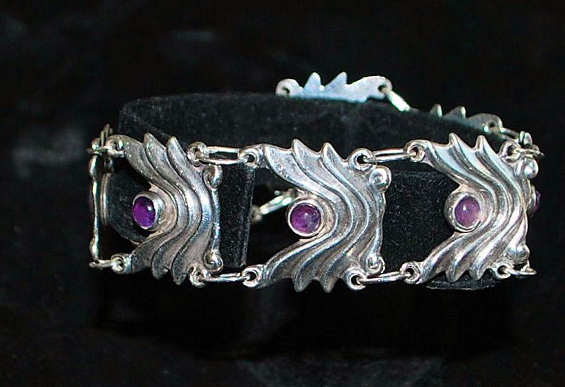 Mexican 980 Silver Amethyst Wave Bracelet - 1980's