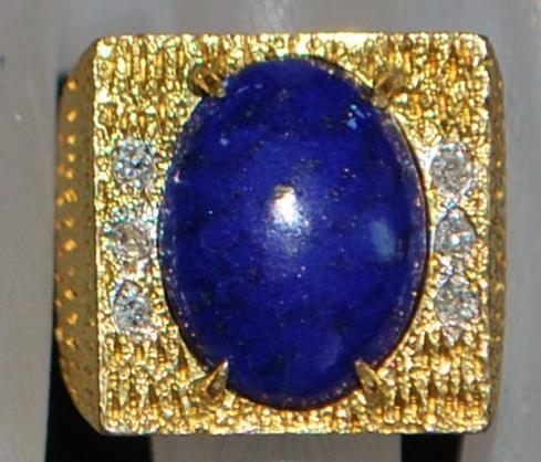 14K  Lapis and Diamond  Fashion Ring - 1980's