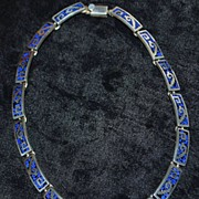 Heavy  Mexican Sterling Inlaid Stone Necklace - 1980's