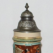 German Simon Peter Gerz 1/2L Covered Stein, c. 1900