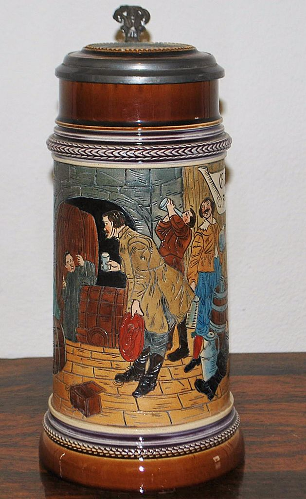 German 1Liter Etched Stoneware Covered Stein,c.1900