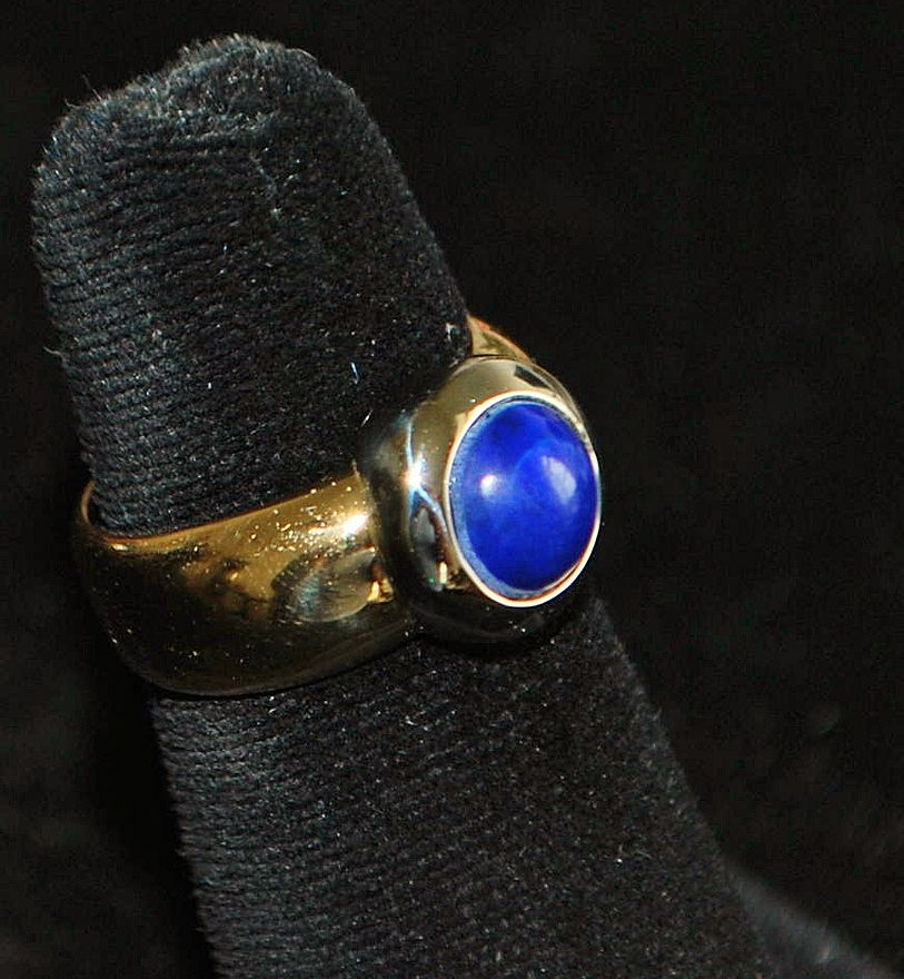 18K Italian Lapis and Gold Modern  Ring - 1980's