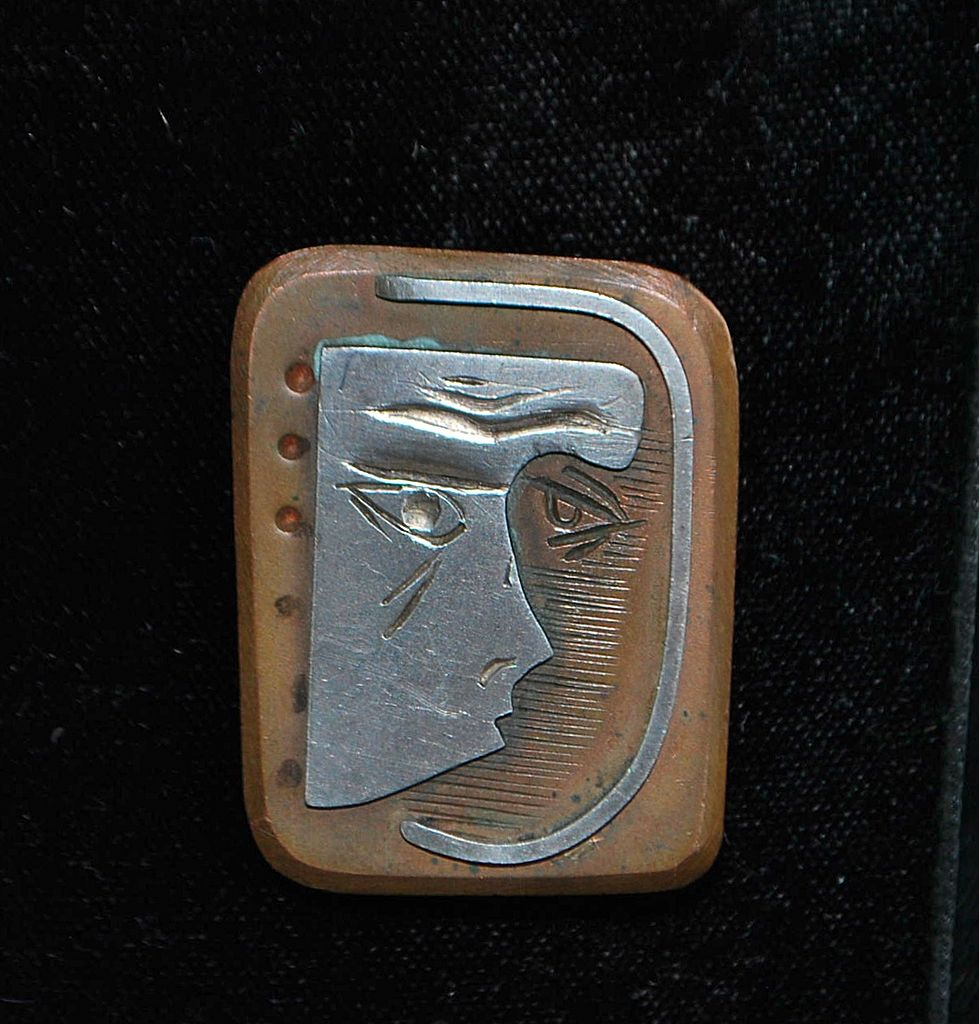 Sterling and Bronze Picasso Style Wearable Art Brooch -  1960's